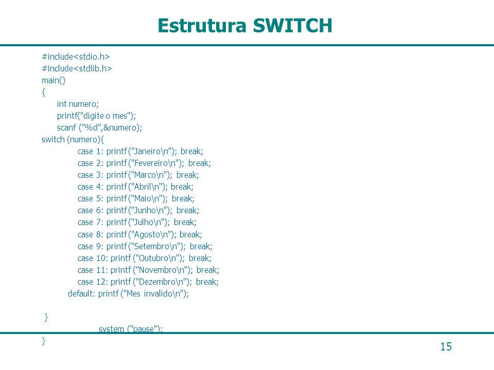 15 Estrutura SWITCH #include main() { int numero; printf(