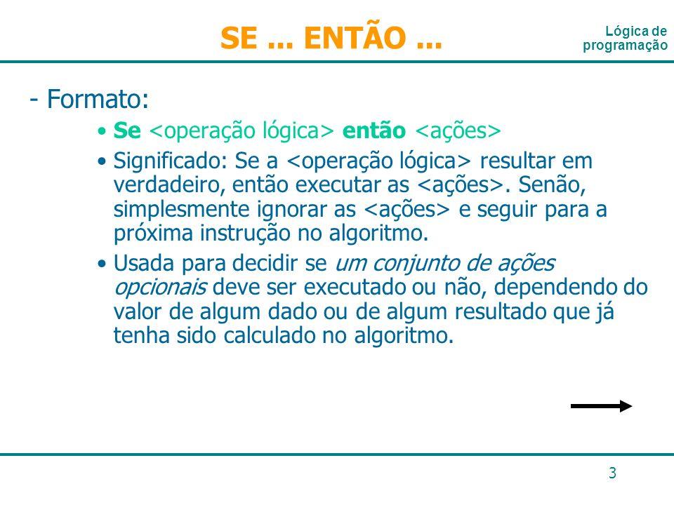 14 Estrutura condicional composta Comando if...else if (condição) comando; else comando; if (condição) { comando1; comando2; } else { comando3; comando4; } if (peso= =peso_ideal) printf (Vc está em forma!); else printf (Necessário fazer dieta!); em pseudo-código: se (peso= =peso_ideal) entao exibir Vc está em forma.