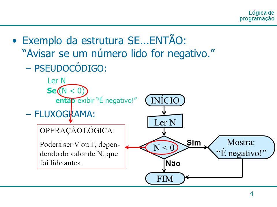 4 Exemplo da estrutura SE...ENTÃO: Avisar se um número lido for negativo. –PSEUDOCÓDIGO: Ler N Se (N < 0) então exibir É negativo! –FLUXOGRAMA: Lógica