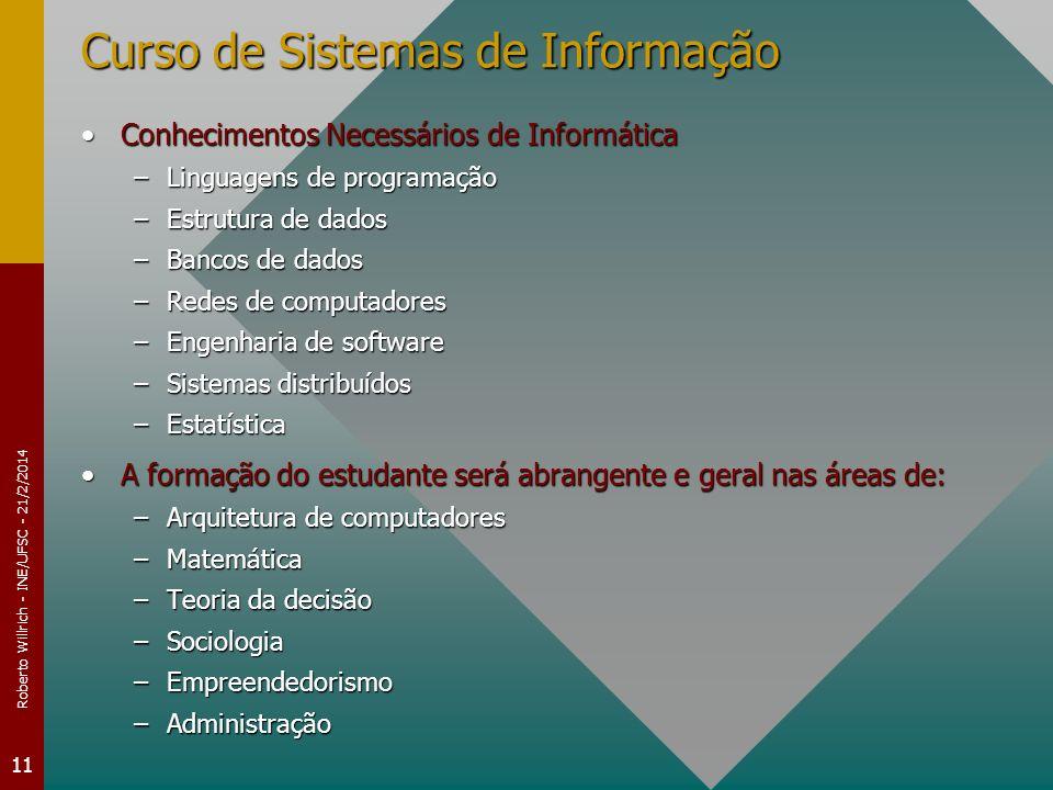 Roberto Willrich - INE/UFSC - 21/2/2014 11 Curso de Sistemas de Informação Conhecimentos Necessários de InformáticaConhecimentos Necessários de Inform