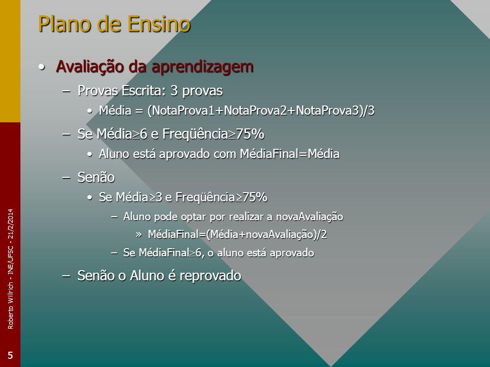 Roberto Willrich - INE/UFSC - 21/2/2014 5 Plano de Ensino Avaliação da aprendizagemAvaliação da aprendizagem –Provas Escrita: 3 provas Média = (NotaPr