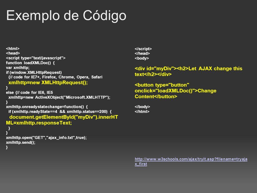 Exemplo de Código function loadXMLDoc() { var xmlhttp; if (window.XMLHttpRequest) {// code for IE7+, Firefox, Chrome, Opera, Safari xmlhttp=new XMLHtt