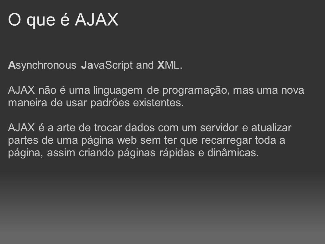 O que é AJAX Asynchronous JavaScript and XML. AJAX não é uma linguagem de programação, mas uma nova maneira de usar padrões existentes. AJAX é a arte
