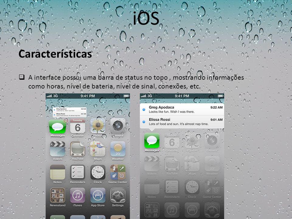 iOS A interface possui uma barra de status no topo, mostrando informações como horas, nível de bateria, nível de sinal, conexões, etc. Características