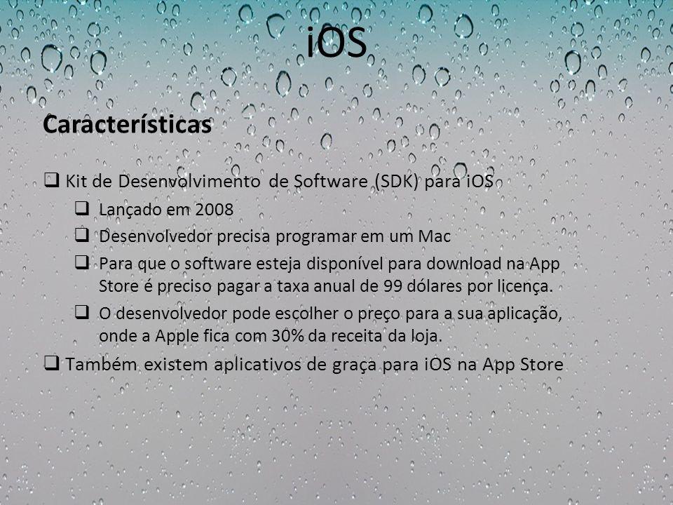 iOS Kit de Desenvolvimento de Software (SDK) para iOS Lançado em 2008 Desenvolvedor precisa programar em um Mac Para que o software esteja disponível