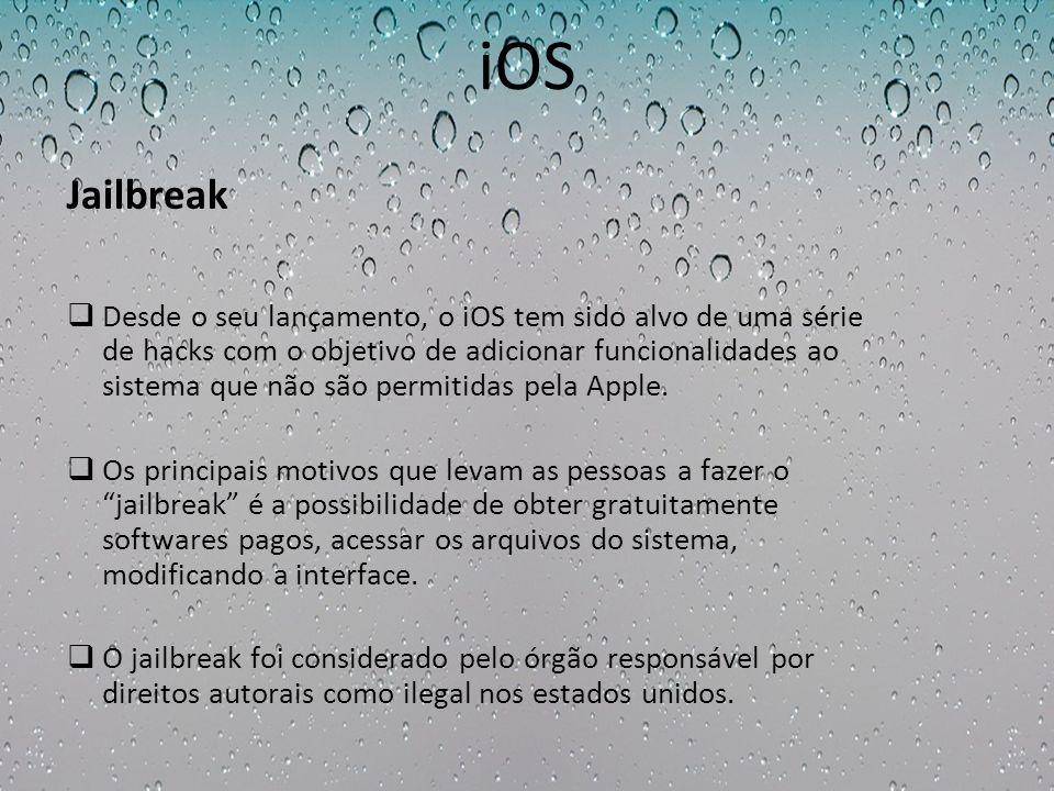 iOS Desde o seu lançamento, o iOS tem sido alvo de uma série de hacks com o objetivo de adicionar funcionalidades ao sistema que não são permitidas pe