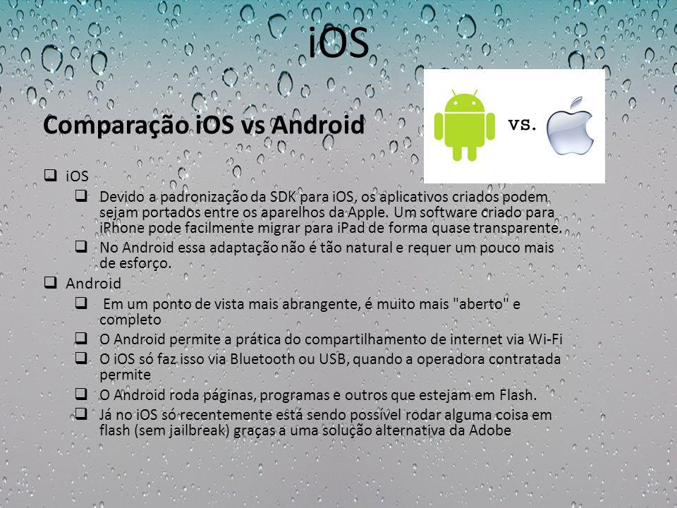 iOS Devido a padronização da SDK para iOS, os aplicativos criados podem sejam portados entre os aparelhos da Apple. Um software criado para iPhone pod