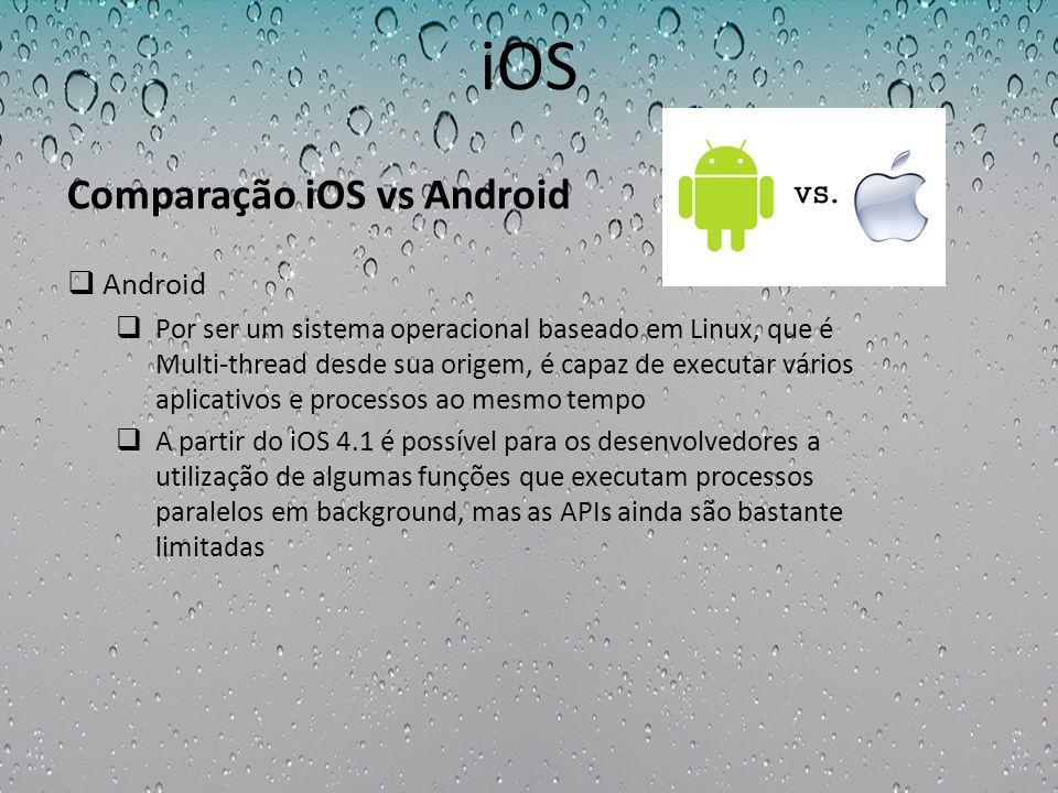 iOS Android Por ser um sistema operacional baseado em Linux, que é Multi-thread desde sua origem, é capaz de executar vários aplicativos e processos a