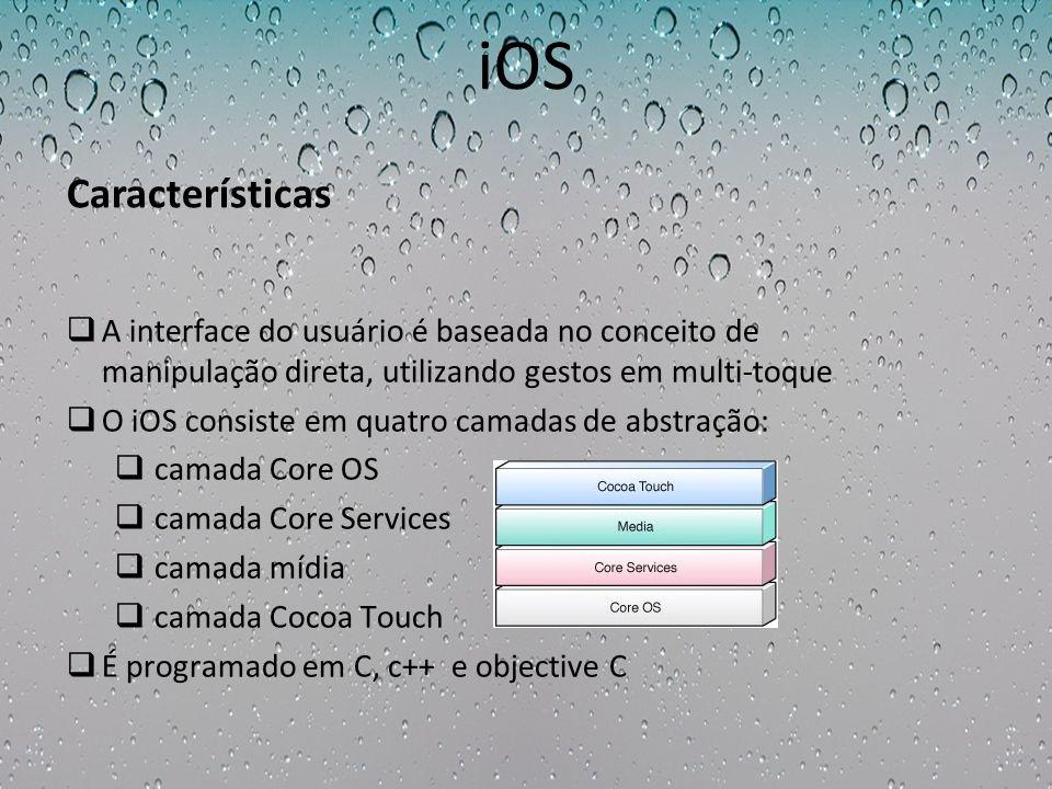 iOS A interface do usuário é baseada no conceito de manipulação direta, utilizando gestos em multi-toque O iOS consiste em quatro camadas de abstração