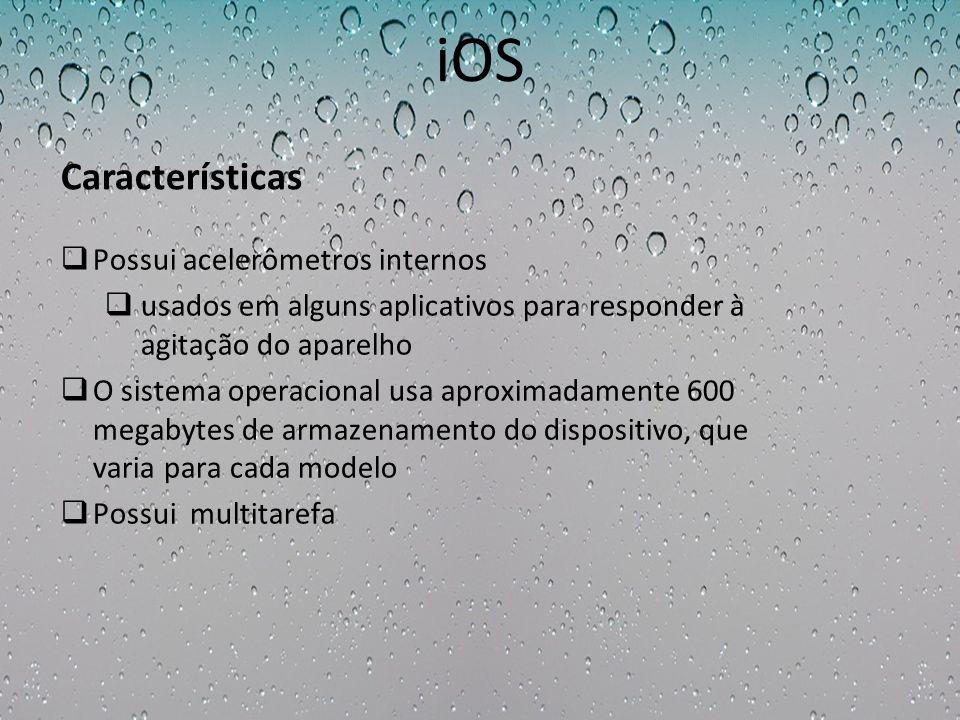 iOS Possui acelerômetros internos usados em alguns aplicativos para responder à agitação do aparelho O sistema operacional usa aproximadamente 600 meg