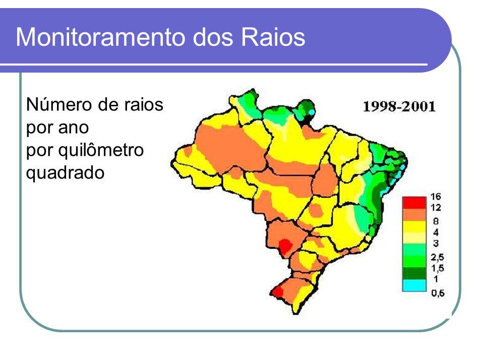Monitoramento dos Raios Número de raios por ano por quilômetro quadrado