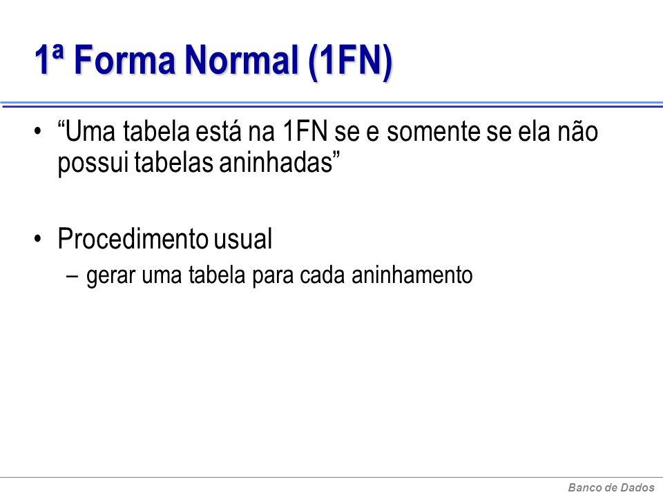Banco de Dados 1ª Forma Normal (1FN) 1ª Forma Normal (1FN) Uma tabela está na 1FN se e somente se ela não possui tabelas aninhadas Procedimento usual