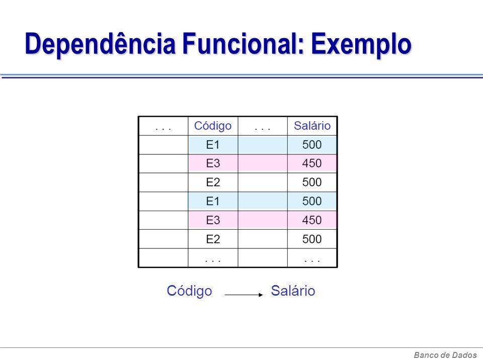 Banco de Dados Dependência Funcional: Exemplo Código Salário