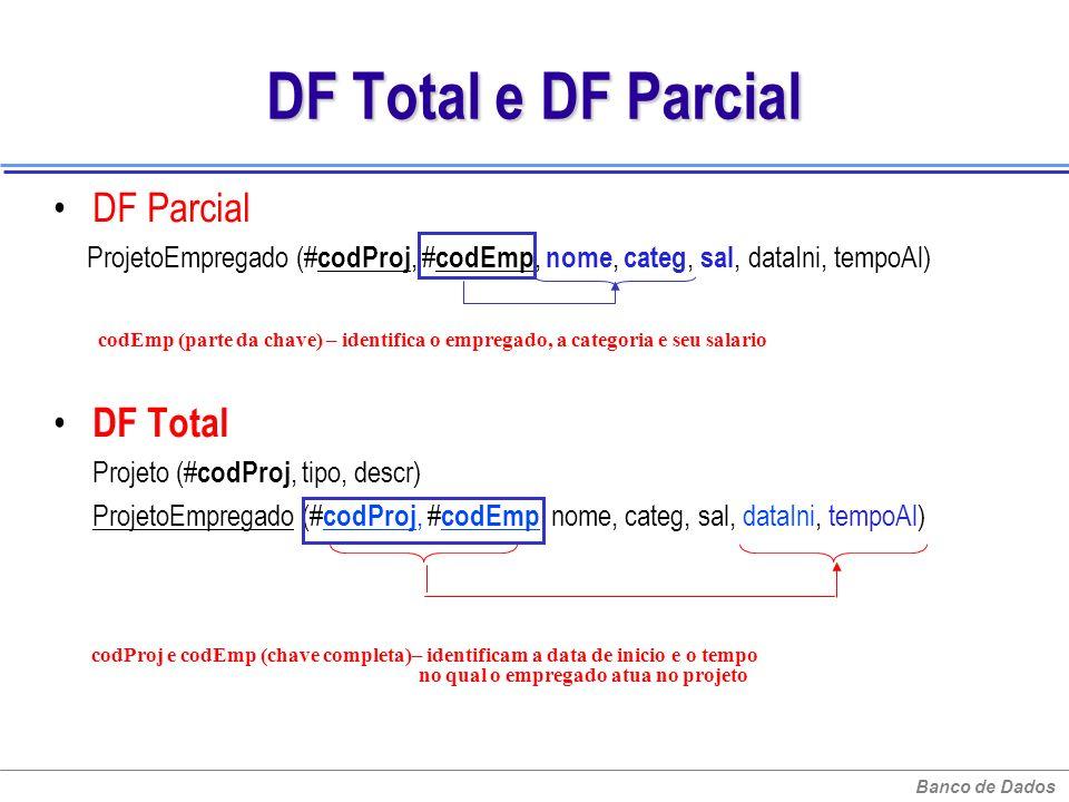 Banco de Dados DF Total e DF Parcial DF Parcial ProjetoEmpregado (# codProj, # codEmp, nome, categ, sal, dataIni, tempoAl) DF Total Projeto (# codProj