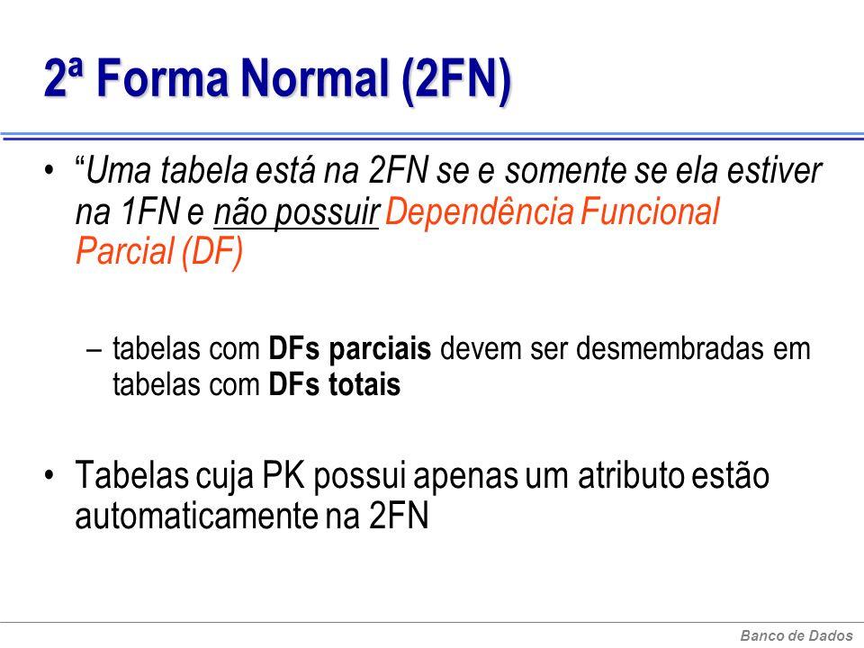 Banco de Dados 2ª Forma Normal (2FN) 2ª Forma Normal (2FN) Uma tabela está na 2FN se e somente se ela estiver na 1FN e não possuir Dependência Funcion