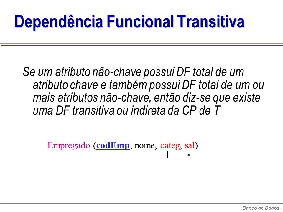 Banco de Dados Dependência Funcional Transitiva Se um atributo não-chave possui DF total de um atributo chave e também possui DF total de um ou mais a