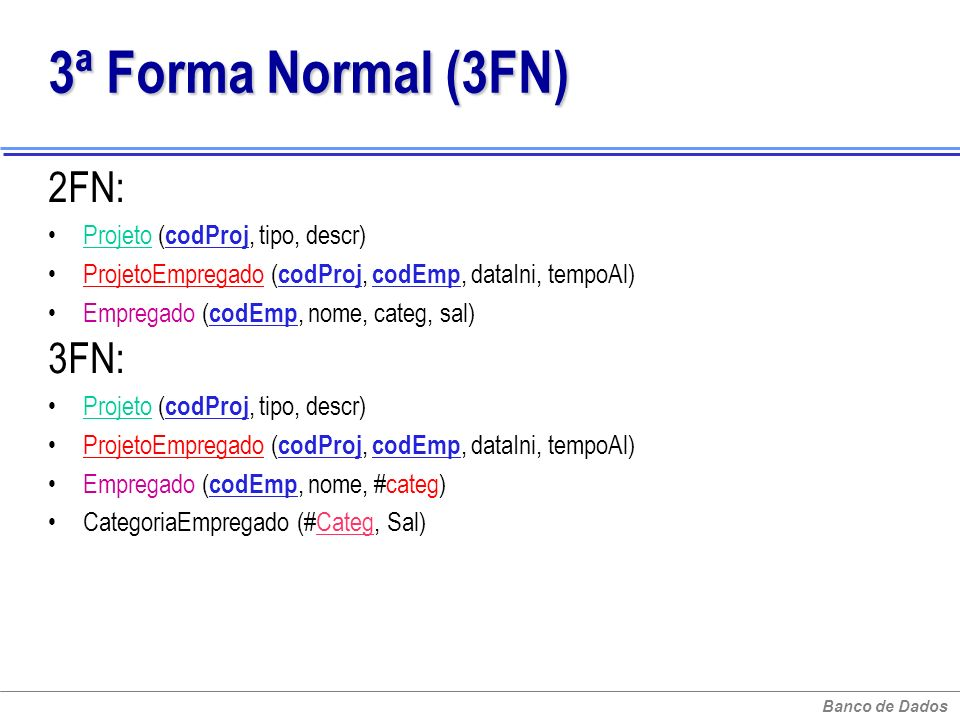 Banco de Dados 3ª Forma Normal (3FN) 3ª Forma Normal (3FN) 2FN: Projeto ( codProj, tipo, descr) ProjetoEmpregado ( codProj, codEmp, dataIni, tempoAl)
