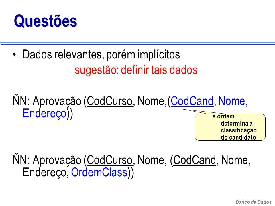 Banco de Dados Questões Dados relevantes, porém implícitos sugestão: definir tais dados ÑN: Aprovação (CodCurso, Nome,(CodCand, Nome, Endereço)) ÑN: A