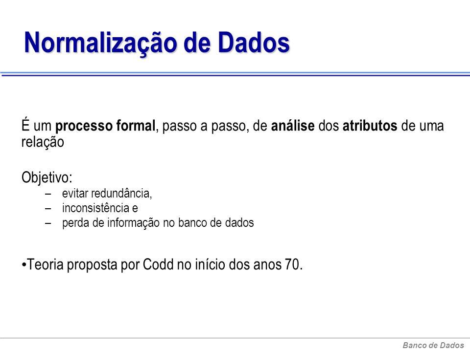 Banco de Dados Normalização de Dados É um processo formal, passo a passo, de análise dos atributos de uma relação Objetivo: – evitar redundância, – in