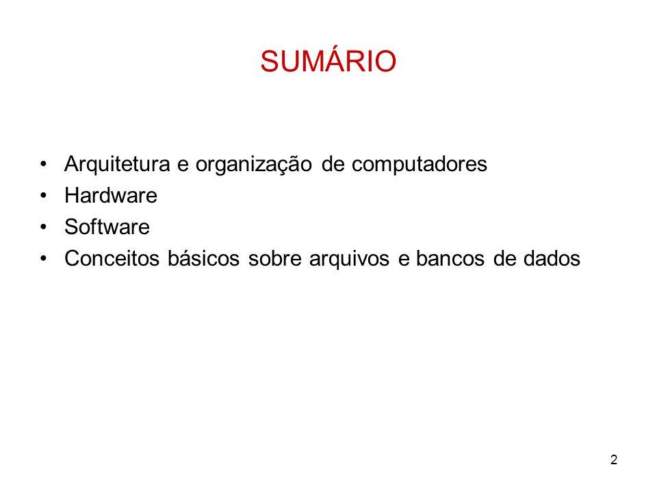 2 SUMÁRIO Arquitetura e organização de computadores Hardware Software Conceitos básicos sobre arquivos e bancos de dados
