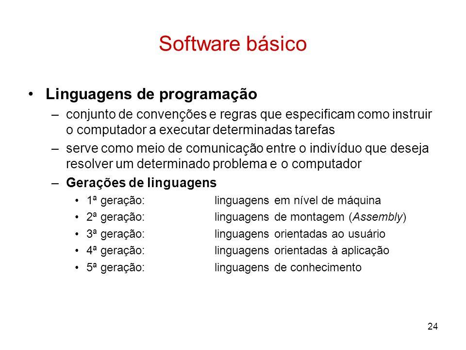 24 Software básico Linguagens de programação –conjunto de convenções e regras que especificam como instruir o computador a executar determinadas taref