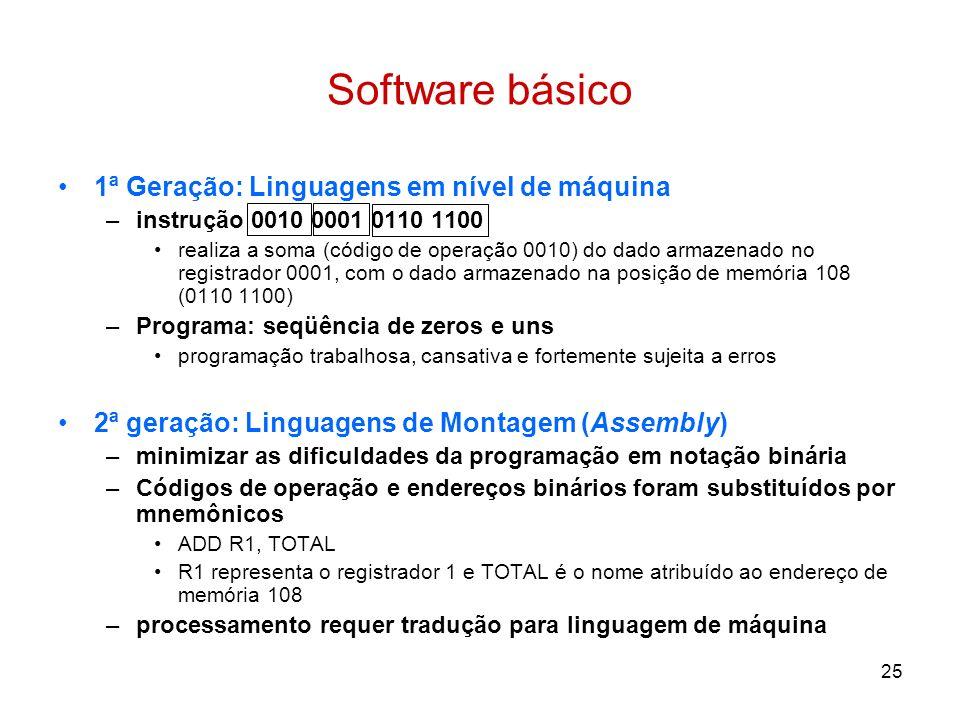 25 Software básico 1ª Geração: Linguagens em nível de máquina –instrução 0010 0001 0110 1100 realiza a soma (código de operação 0010) do dado armazena