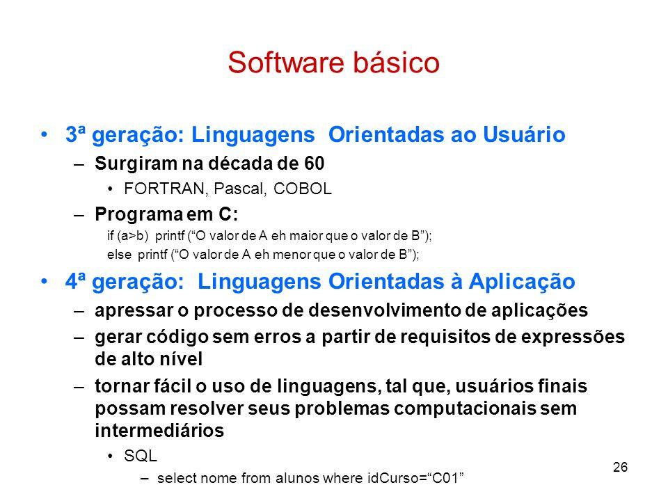 26 Software básico 3ª geração: Linguagens Orientadas ao Usuário –Surgiram na década de 60 FORTRAN, Pascal, COBOL –Programa em C: if (a>b) printf (O va