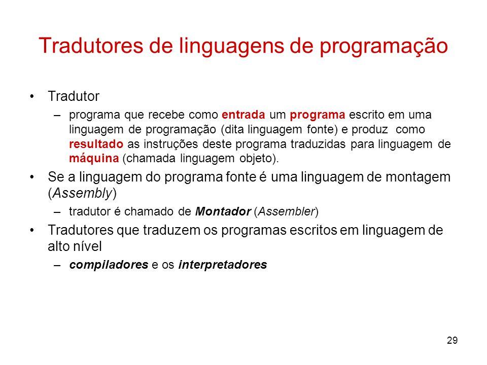 29 Tradutores de linguagens de programação Tradutor –programa que recebe como entrada um programa escrito em uma linguagem de programação (dita lingua