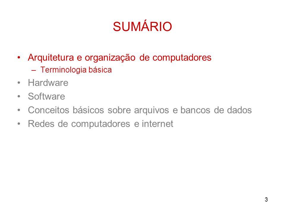 3 SUMÁRIO Arquitetura e organização de computadores –Terminologia básica Hardware Software Conceitos básicos sobre arquivos e bancos de dados Redes de