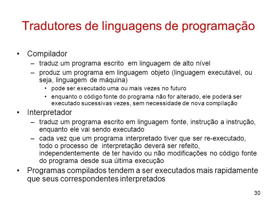 30 Tradutores de linguagens de programação Compilador –traduz um programa escrito em linguagem de alto nível –produz um programa em linguagem objeto (