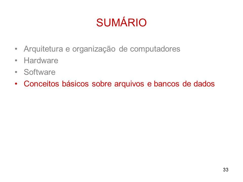 33 SUMÁRIO Arquitetura e organização de computadores Hardware Software Conceitos básicos sobre arquivos e bancos de dados