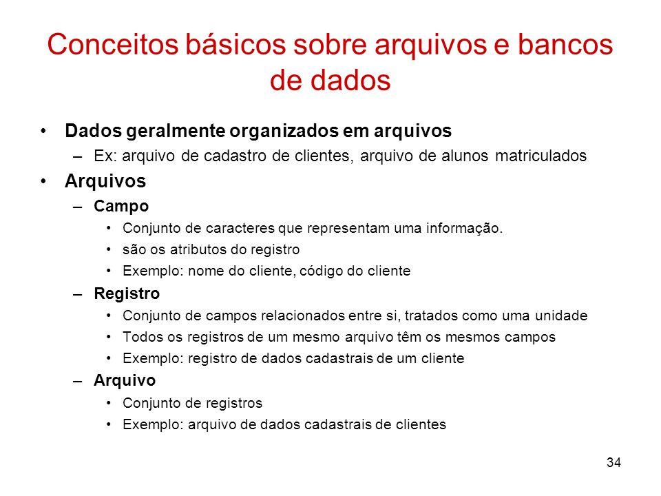 34 Conceitos básicos sobre arquivos e bancos de dados Dados geralmente organizados em arquivos –Ex: arquivo de cadastro de clientes, arquivo de alunos
