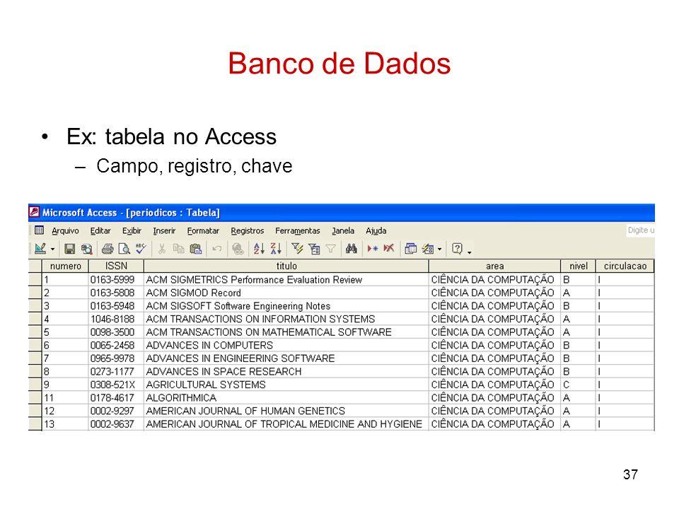 37 Banco de Dados Ex: tabela no Access –Campo, registro, chave