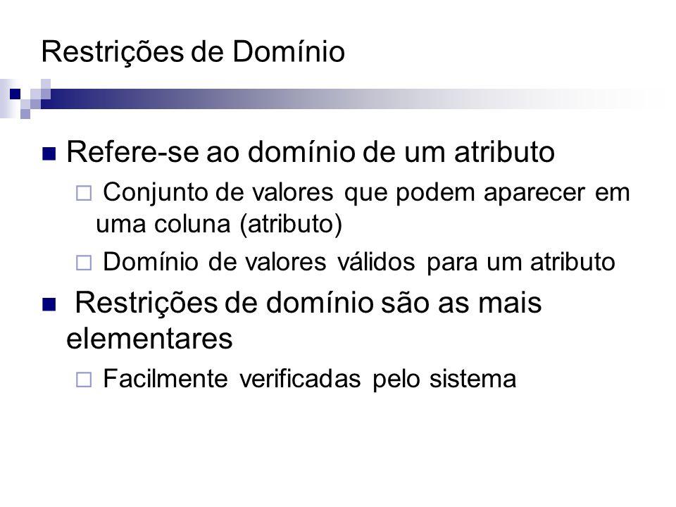Refere-se ao domínio de um atributo Conjunto de valores que podem aparecer em uma coluna (atributo) Domínio de valores válidos para um atributo Restri