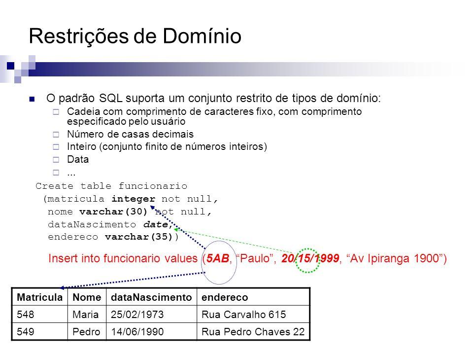 Restrições de Domínio O padrão SQL suporta um conjunto restrito de tipos de domínio: Cadeia com comprimento de caracteres fixo, com comprimento especi