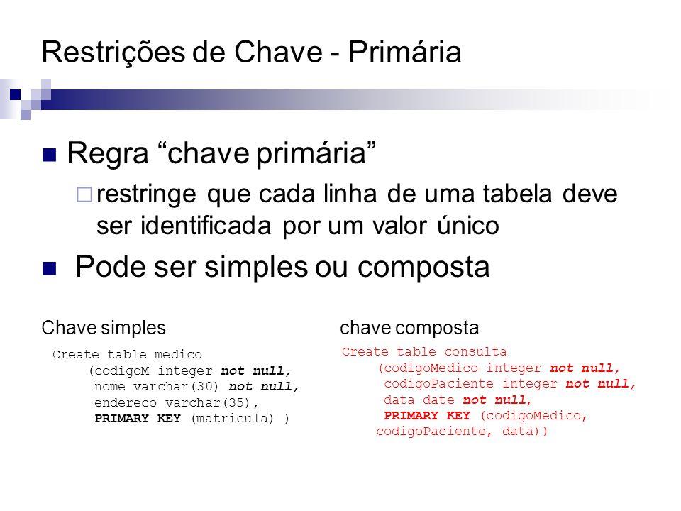 Restrições de Chave - Primária Regra chave primária restringe que cada linha de uma tabela deve ser identificada por um valor único Pode ser simples o