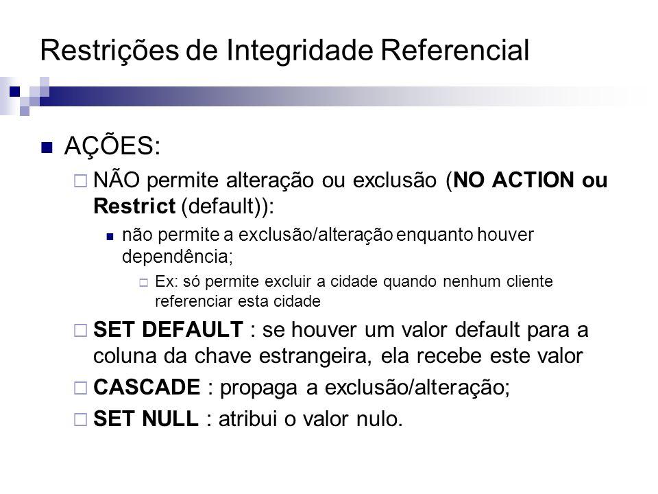 Restrições de Integridade Referencial AÇÕES: NÃO permite alteração ou exclusão (NO ACTION ou Restrict (default)): não permite a exclusão/alteração enq