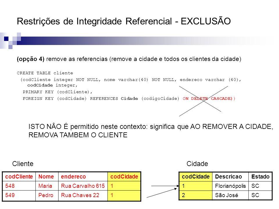 Restrições de Integridade Referencial - EXCLUSÃO (opção 4) remove as referencias (remove a cidade e todos os clientes da cidade) CREATE TABLE cliente