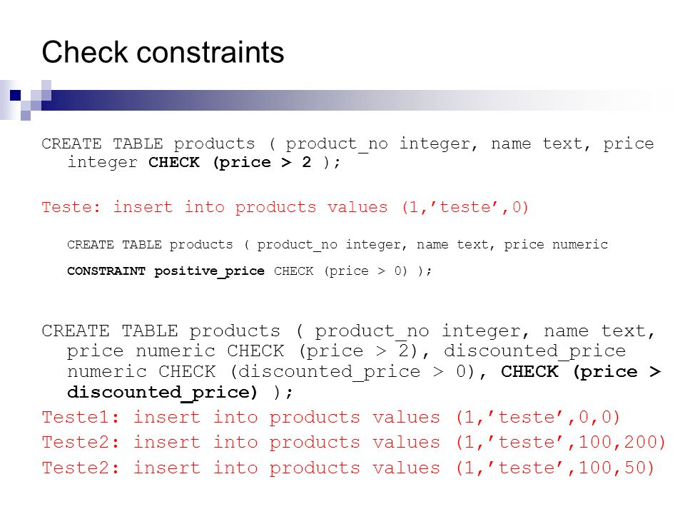 Check constraints CREATE TABLE products ( product_no integer, name text, price integer CHECK (price > 2 ); Teste: insert into products values (1,teste