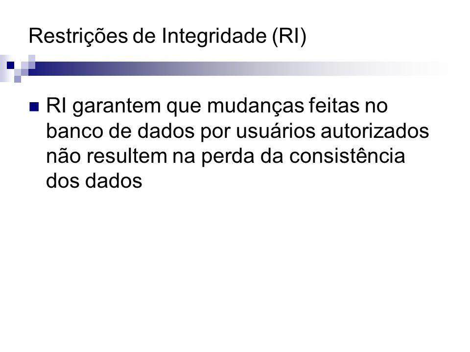 Restrições de Integridade (RI) RI garantem que mudanças feitas no banco de dados por usuários autorizados não resultem na perda da consistência dos da