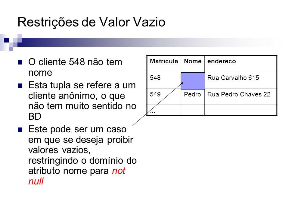 Uma das restrições mais importantes em BD Definição: é a garantia de que um valor que aparece em uma relação R1, para um conjunto de atributos, deve obrigatoriamente corresponder a valores de um conjunto de atributos em uma relação R2;OU valores de atributos que são chave estrangeira em uma relação R1 possuem valores correspondentes em chaves primárias da tabela referenciada R2