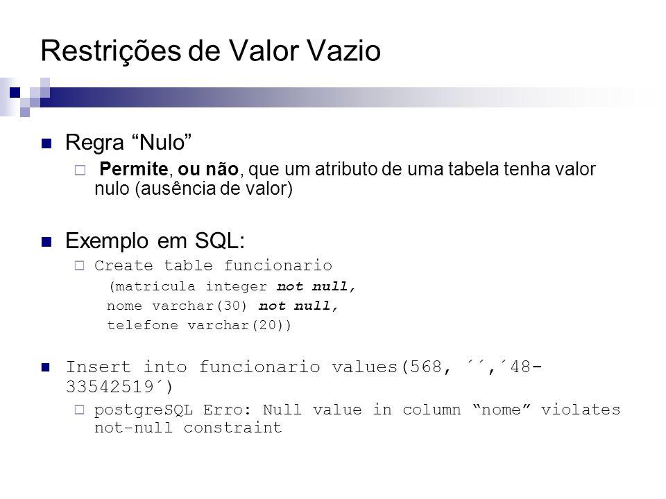 Restrições de Valor Vazio Regra Nulo Permite, ou não, que um atributo de uma tabela tenha valor nulo (ausência de valor) Exemplo em SQL: Create table