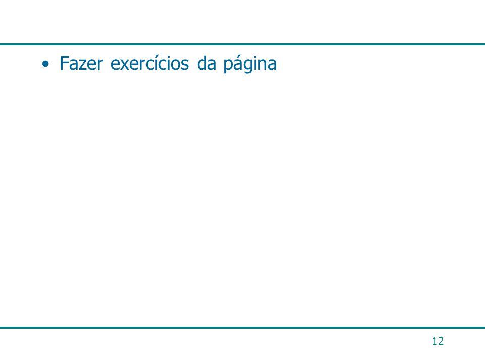 12 Fazer exercícios da página
