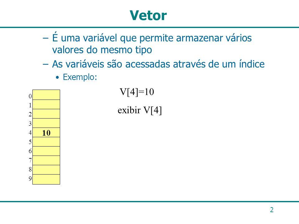 2 Vetor –É uma variável que permite armazenar vários valores do mesmo tipo –As variáveis são acessadas através de um índice Exemplo: 01234567890123456