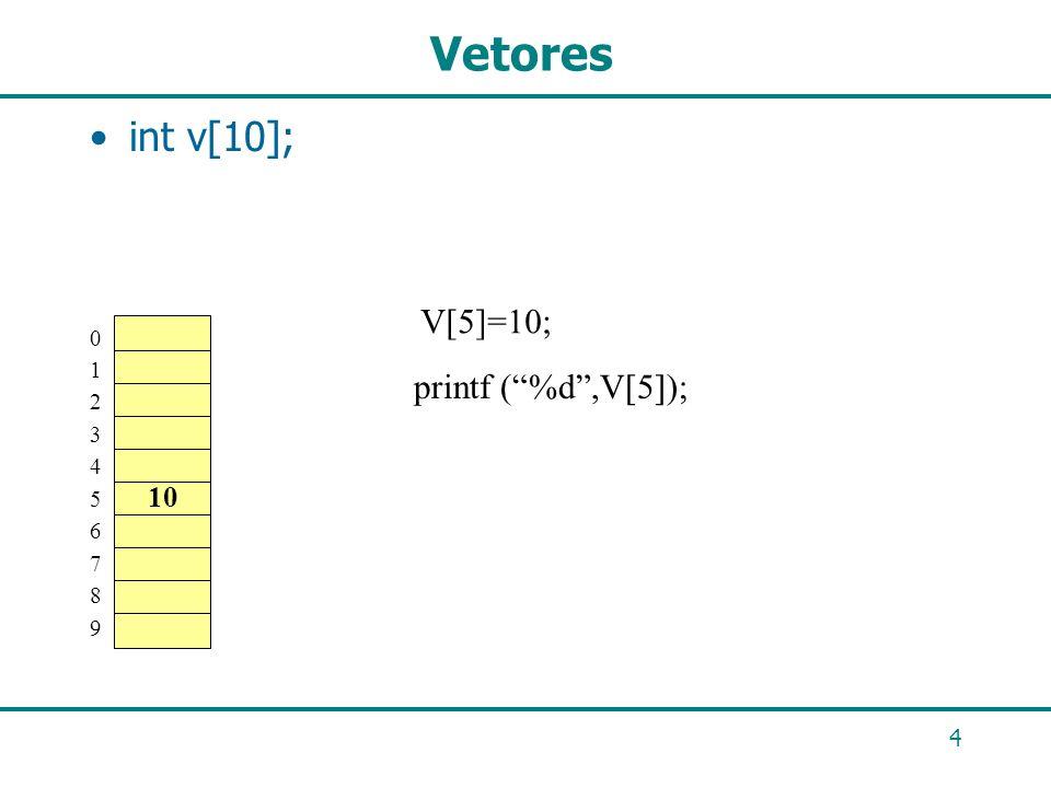 4 Vetores int v[10]; 01234567890123456789 V[5]=10; 10 printf (%d,V[5]);
