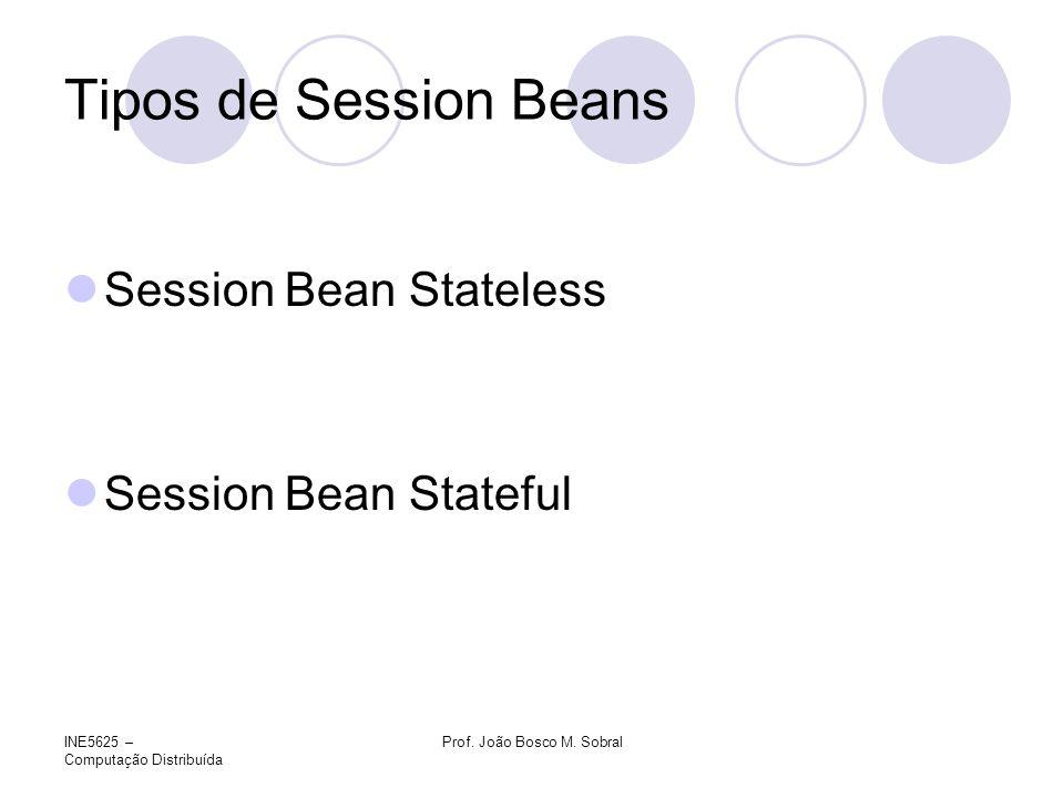 INE5625 – Computação Distribuída Prof. João Bosco M. Sobral Tipos de Session Beans Session Bean Stateless Session Bean Stateful