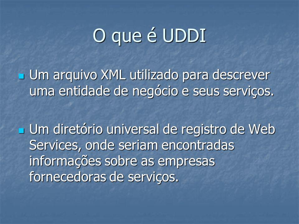 O que é UDDI Um arquivo XML utilizado para descrever uma entidade de negócio e seus serviços. Um arquivo XML utilizado para descrever uma entidade de