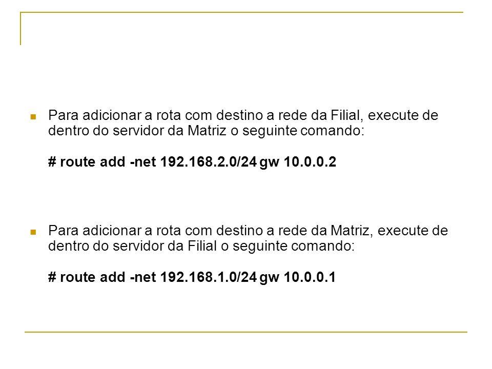 Para adicionar a rota com destino a rede da Filial, execute de dentro do servidor da Matriz o seguinte comando: # route add -net 192.168.2.0/24 gw 10.
