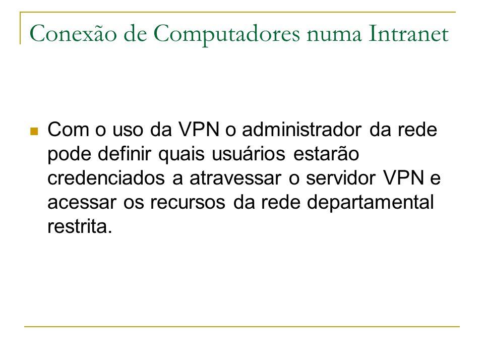 Conexão de Computadores numa Intranet Com o uso da VPN o administrador da rede pode definir quais usuários estarão credenciados a atravessar o servido