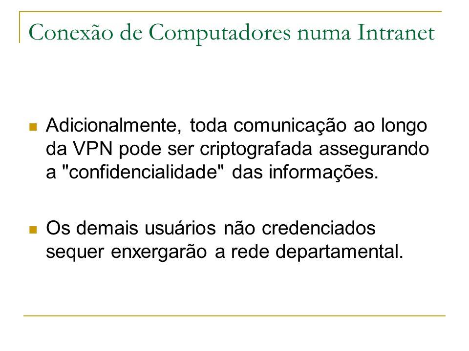 Conexão de Computadores numa Intranet Adicionalmente, toda comunicação ao longo da VPN pode ser criptografada assegurando a